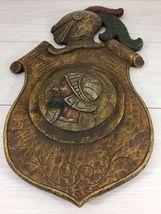 Antique 1900 German black forest carved wood shield medieval knight shop sign image 9