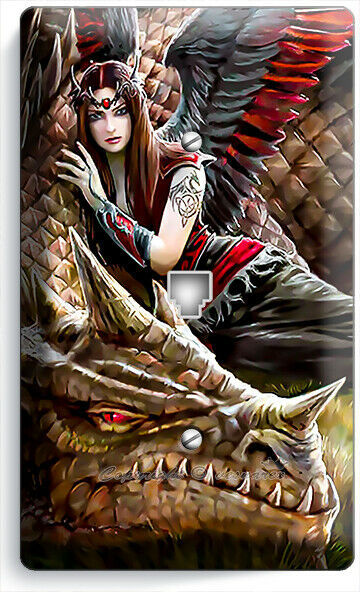 FANTASY ANGEL GIRL RED WINGS DRAGON PHONE TELEPHONE COVER WALL PLATES ROOM DECOR