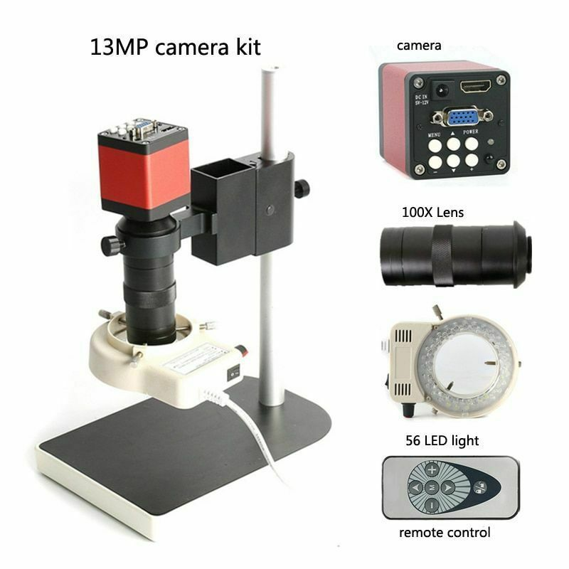 Primary image for Industrial Microscope HDMI 13MP 60F/S HD VGA Camera+130X C Mount Lens + LED Ring