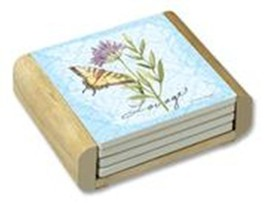 """CounterArt Absorbent Coaster Set (4) Herb Garden Butterfly Wood Holder - 4"""" sq - $17.95"""