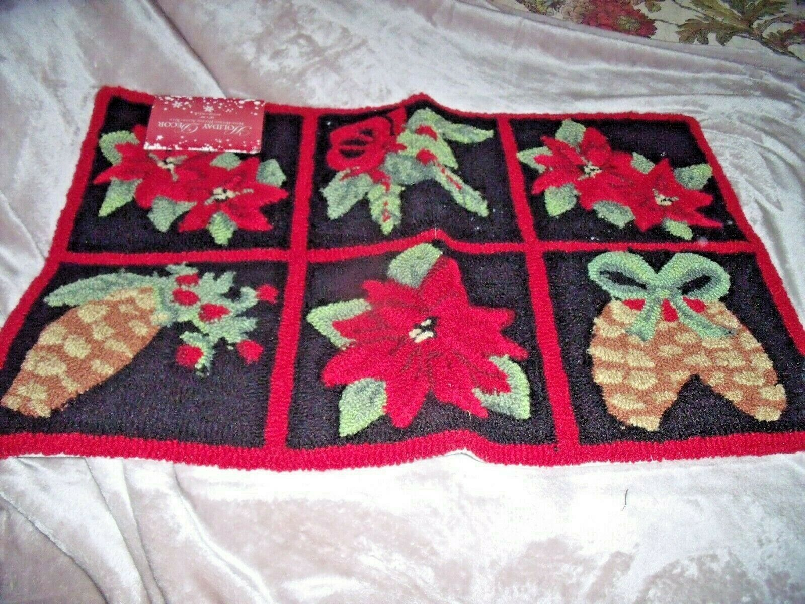 "Primary image for NEW Christmas POINSETTIA PINECONE HAND HOOKED RUG 18"" X 30"" Black Red HOLIDAYS"