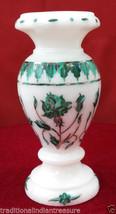 "6"" White Marble Flower Vase Malachite Mosaic Inlay Handmade Decor Patio Art Gift - $292.99"