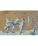 Victorian Trade Card Ice Skating Children Thermometer Dog Peabody's Sale... - $5.93