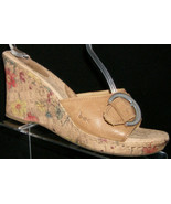 B.O.C. Born Concept brown leather BC6542 buckle slide floral wedges 10 42 - $29.22