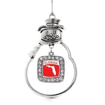Inspired Silver Florida Outline Classic Snowman Holiday Christmas Tree Ornament  - $14.69