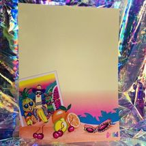 Vintage Lisa Frank Single Letter Set Stationery FABULOUS FRUIT Postalette &sheet image 3