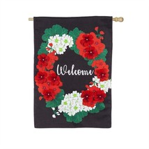 """Welcome Geraniums House Banner 28x44"""" Flag NEW Spring Evergreen - $25.69"""