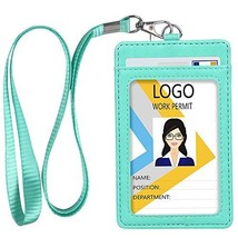 Leather ID Badge Holder, Vertical PU Leather ID Badge Holder with 1 Clea... - $8.02