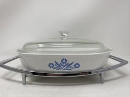 "Corning Ware P-10-B 10"" Casserole Dish W/ Lid & Trivet Blue Cornflower - $33.17"