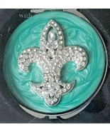 Crystal Fleur-de-lis Turquoise Blue/Green Enamel Compact Mirror Argento SC NIP  - $29.65