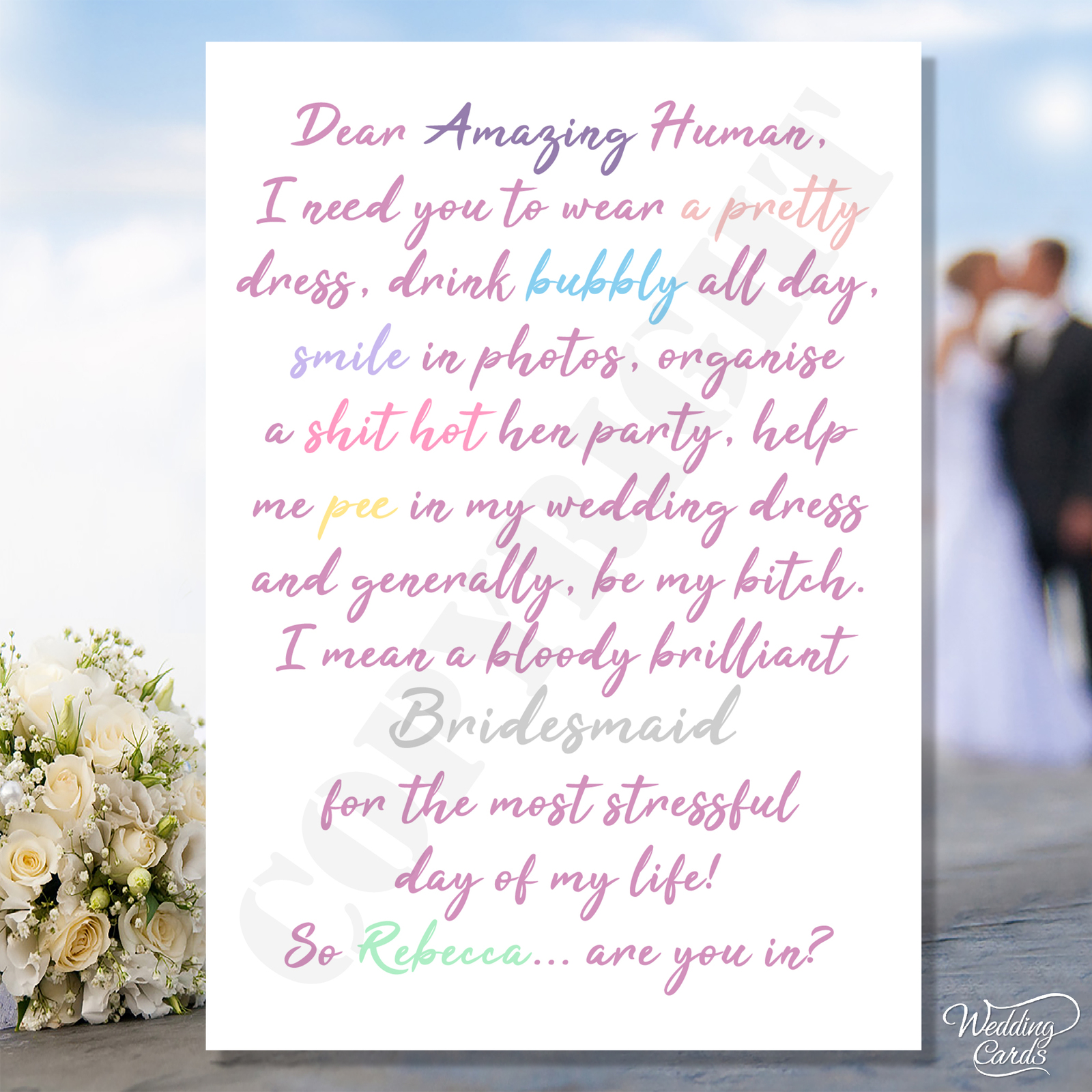 Will you be my Bridesmaid Wedding Pee Fun Maid of Honour Dress Matron Chief Card