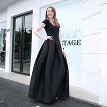 Women BLACK A-Line Ruffle Skirt Lady Taffeta High Waist Midi Pleated Party Skirt image 4