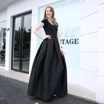 Women BLACK A-Line Ruffle Skirt Lady Taffeta High Waist Midi Pleated Party Skirt image 4