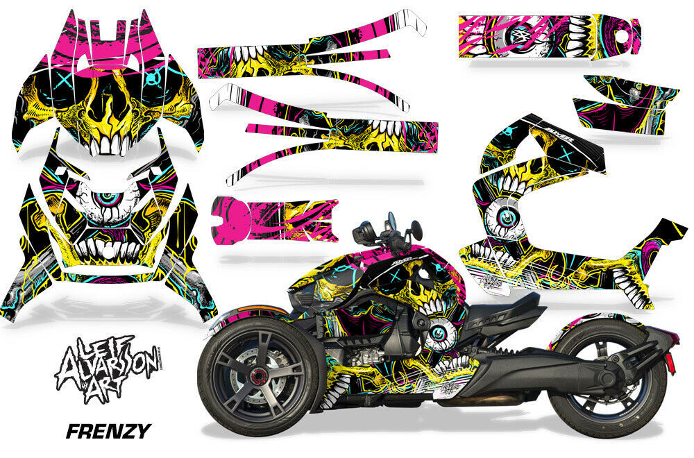 Full Body Wrap Graphic Sticker Decal for Can-Am Ryker 2019 - Frenzy Yellow