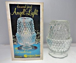 Indiana Glass Diamond Point Crystal 3102 Angel Light Candle Holder - $14.58
