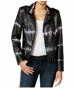 Bar III Womens Tie-Dye Faux-Leather Motorcycle Jacket XS Deep Black $119 - $34.00