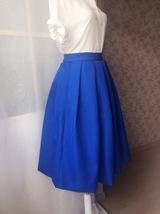 Royal Blue A Line Full Midi Length Taffeta Tea Length Skirt with lining pockets image 5