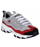 Skechers Dlites Gray Red shoes Women Sport Memory Foam Casual Comfort So... - $49.79