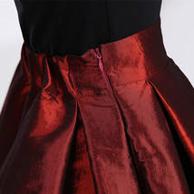 Women BURGUNDY A-Line MAXI Ruffle Skirt Outfit Taffeta Party Skirt High Waisted  image 5