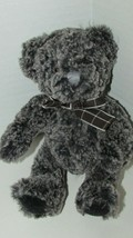 Russ Small black gray tan cream plush teddy bear brown bow bean tush tex... - $13.36