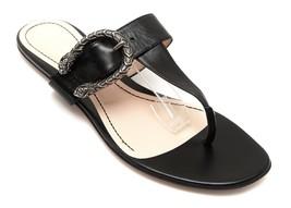 GUCCI Black Leather Sandal Thong DIONYSUS Slide Silver Buckle Sz 38.5 - $617.50