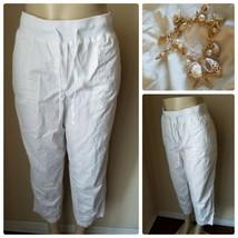 Talbots Petites Women's Pants White Cotton Casual Drawstring Summer 14P - $62.86