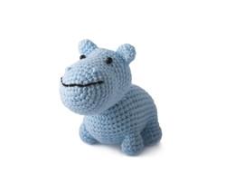 Blue Hippo Handmade Amigurumi Stuffed Toy Knit Crochet Doll VAC - $16.83