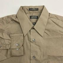 Arrow Dress Shirt Mens 16.5/L Brown 32/33 Sleeve Poplin Wrinkle Free Bus... - $18.95