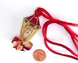 Necklace Christmas Rhinestone Lantern 1960s Gold Plated Retro Figural Ho... - $18.00