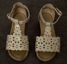 The Childrens Place Youth Girls Ankle Sandals (SIZE 10) Silver + Tan - $14.84