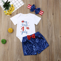 Newborn Sequins Bow Clothing Baby Girl First Independence Day Romper Sho... - $9.39
