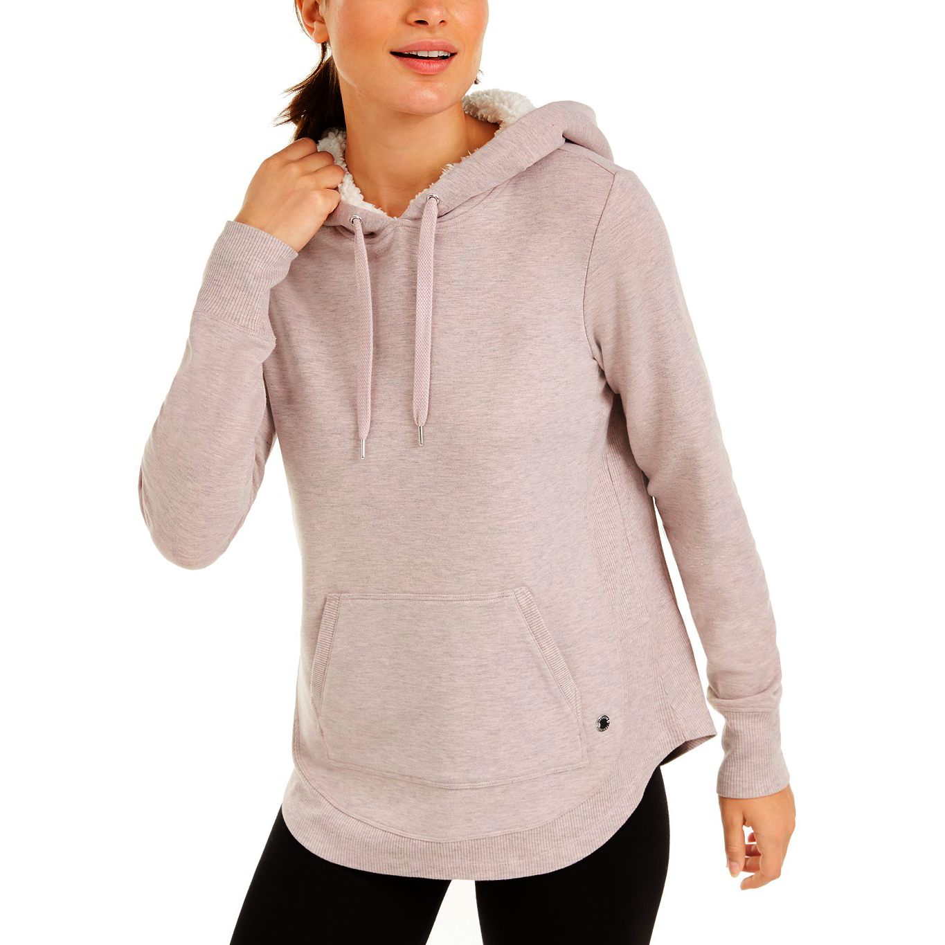 Primary image for Ideology Sherpa Round Hem Hoodie, Pink Heather, M