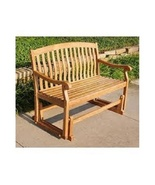 Teak Wooden Glider Bench 4 Ft Solid Wood Outdoor Patio Deck Garden Glide... - $326.99