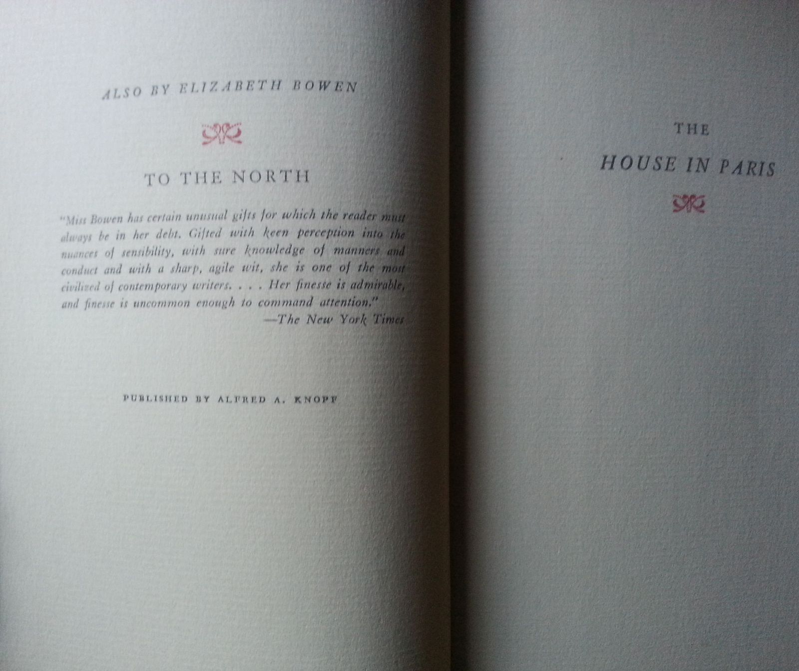 The House in Paris by Elizabeth Bowen 1936 HB Adopted