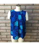 New York & Company Womens Tank Top XL Blue Roses Pleated Front Neck Keyh... - $21.77