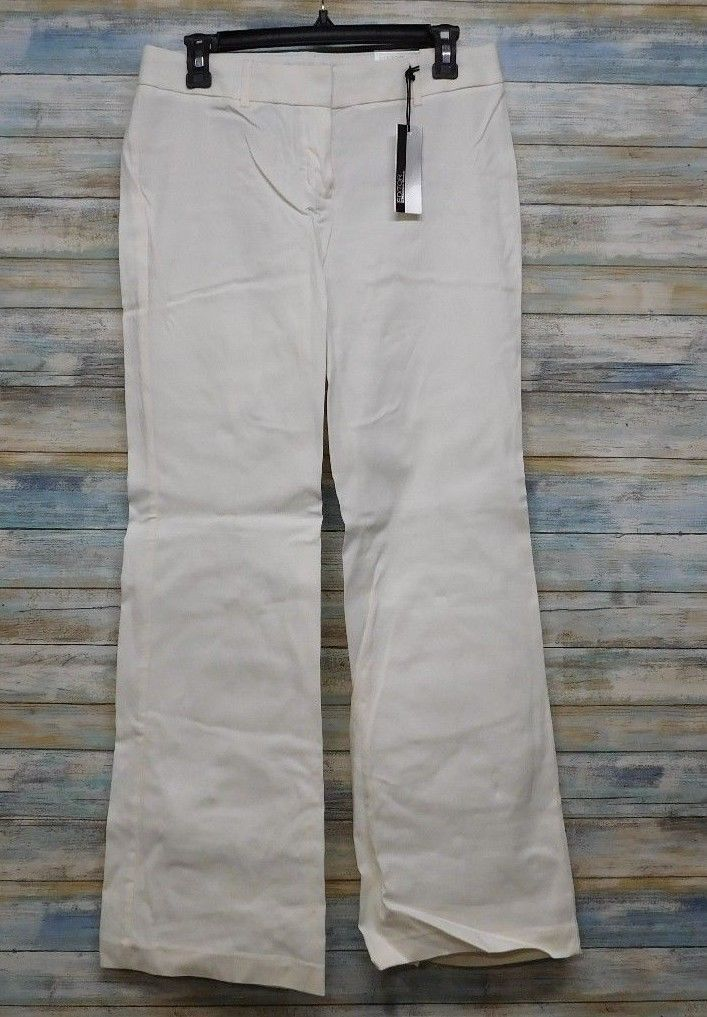 Express Editor Dress Pants 6 x 32 Women's White Straight Stretch          (D-85) image 2