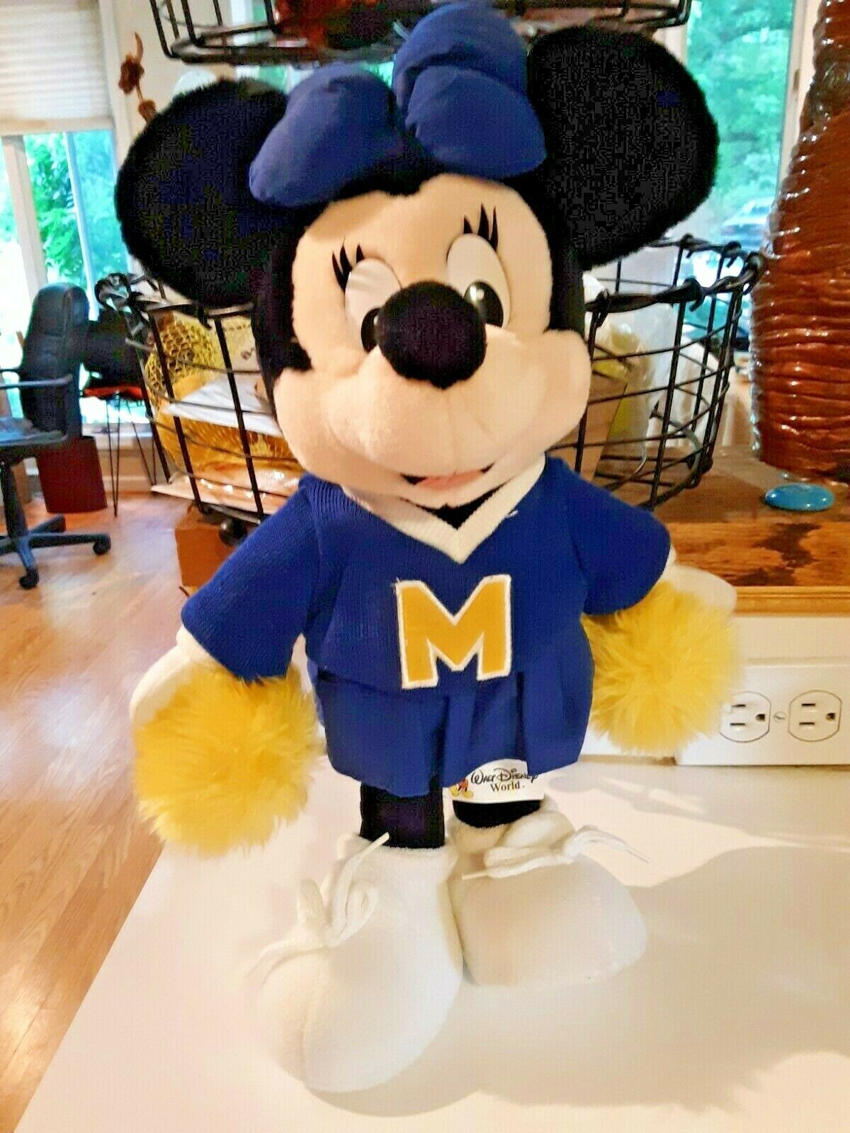 "Primary image for 14"" Disney World Cheerleader MINNIE MOUSE Blue & Yellow Gold Plush Doll"