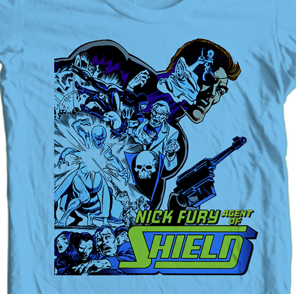 Nick Fury T shirt Agent of S.H.I.E.L.D. retro vintage superhero 100% cotton tee