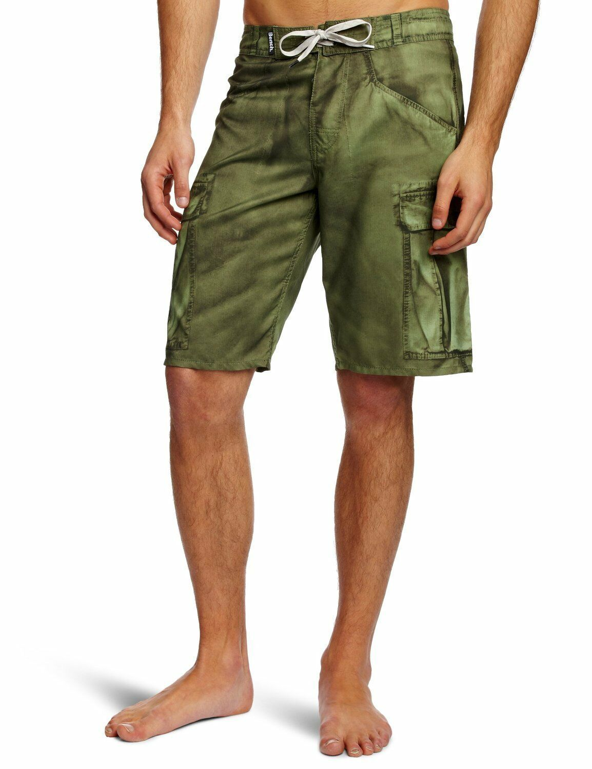 Bench Carlo Mens Swimm Faux Cargo Sublimation Print Green Boardshorts Beach NWT