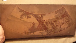 Antique Solid Copper Engraving Plate on Wood Block Birds, Tree, floral VG - $14.99