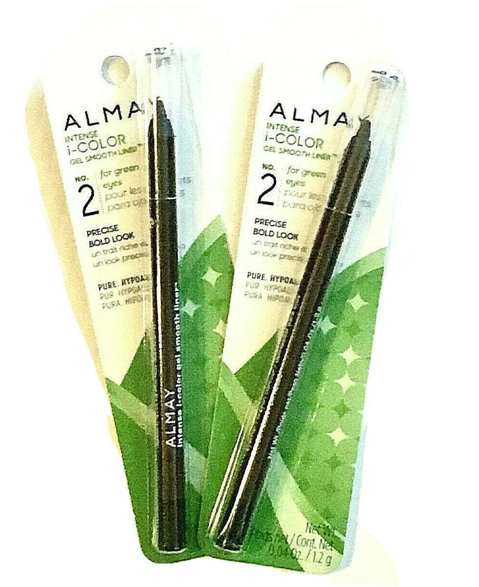 Lot 2 Almay Intense i-color Eyeliner Green Eyes Gel Smooth Liner Espresso 034 - $27.60