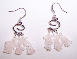 Handmade Earrings Pink Quartz Beaded Chandelier Dangle Hippy Earthy Boho DIY New - $14.35
