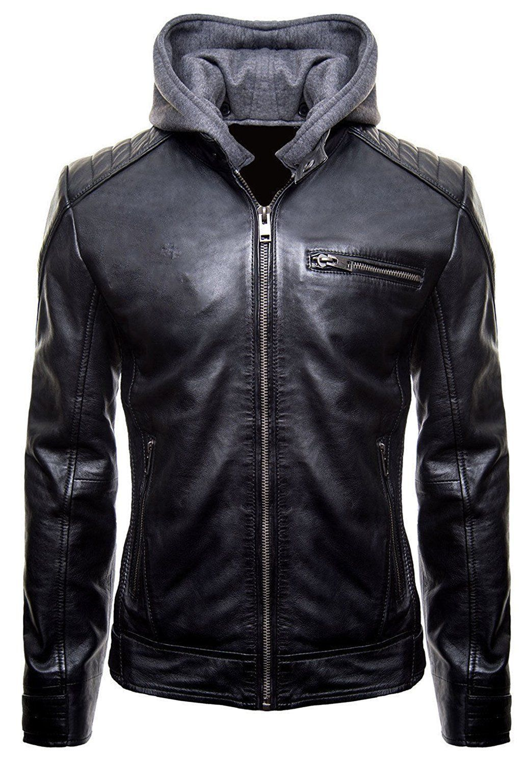 Batman Gotham Jacket Motorcycle Brando Biker Leather Bomber Detach Hoodie Jacket