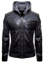 Batman Gotham Jacket Motorcycle Brando Biker Leather Bomber Detach Hoodie Jacket image 1