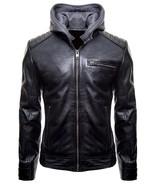 Batman Gotham Motorcycle Black Hooded Brando Biker Bomber Leather Jacket... - $128.00