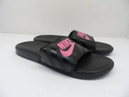 Nike Women's Benassi Just Do It Slides 343881-061 BLACK/VIVID Pink 10M - $37.99