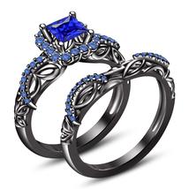Wedding Bridal Ring Set 14K Black Gold Plated 925 Silver 2.40 CT Blue Sapphire - $106.73