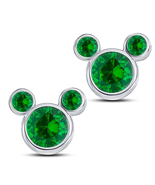 14k White GP 925 Pure Silver Round Cut Green Sapphire Mickey Mouse Stud ... - $43.60