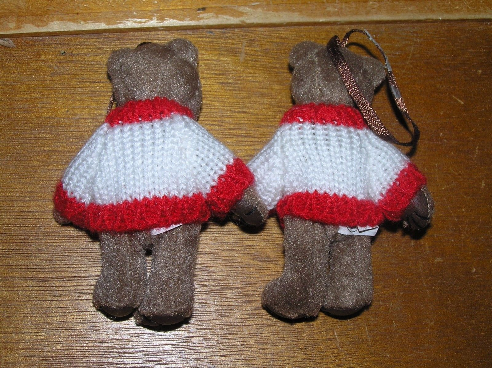 Estate Lot of 2 Plush Mini Brown Bears with University of Wisconsin Sweaters