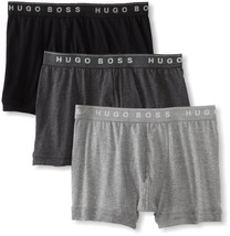 Hugo Boss 3 Pack Premium Cotton Boxers Shorts Trunks Gray Black 50236732